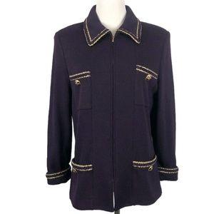 St.John Santana Knit Purple & Gold Blazer Jacket